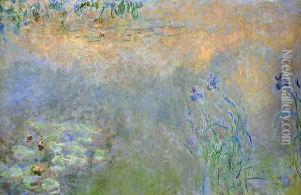 Water-Lily Pond with Irises Oil Painting - Claude Oscar Monet