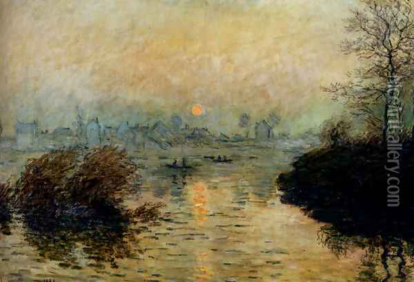 Sun Setting Over The Seine At Lavacourt, Winter Effect Oil Painting - Claude Oscar Monet