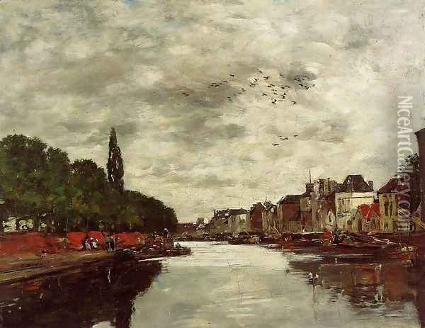 A Canal near Brussels 1871 Oil Painting - Claude Oscar Monet