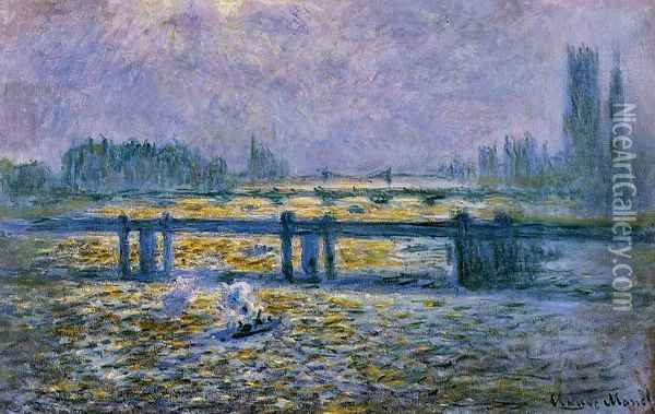 Charing Cross Bridge, Reflections on the Thames Oil Painting - Claude Oscar Monet