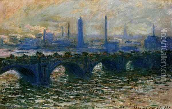 Waterloo Bridge, Misty Morning Oil Painting - Claude Oscar Monet