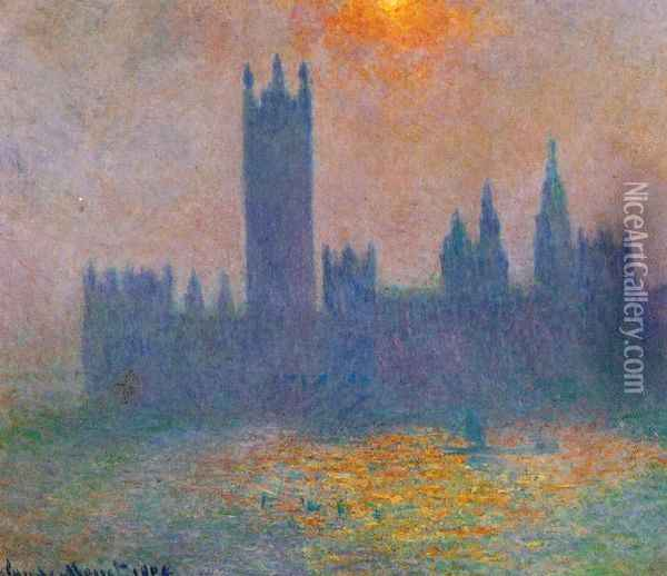 Houses of Parliament, Effect of Sunlight in the fog Oil Painting - Claude Oscar Monet