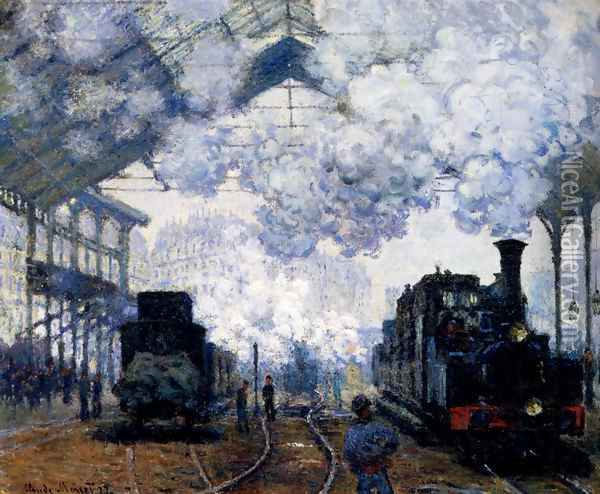 The Gare Saint-Lazare: Arrival Of A Train Oil Painting - Claude Oscar Monet