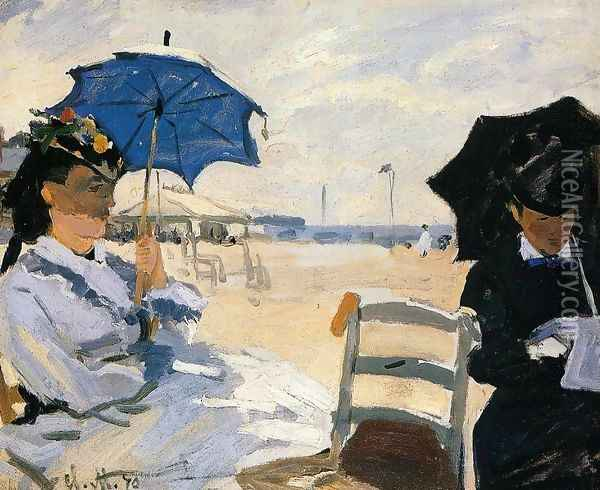 The Beach At Trouville Oil Painting - Claude Oscar Monet