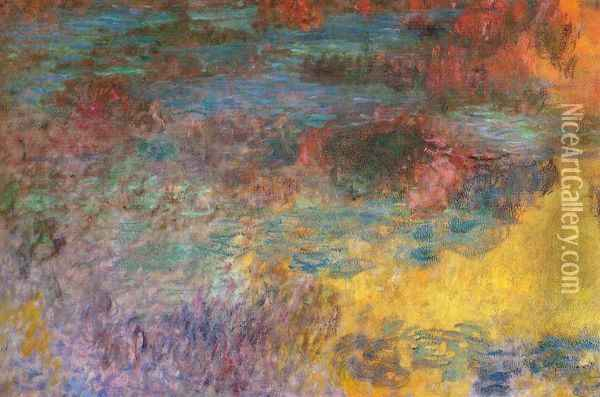 Water-Lily Pond, Evening (left panel) Oil Painting - Claude Oscar Monet
