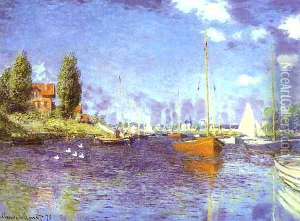 Red Boats at Argentueil Oil Painting - Claude Oscar Monet