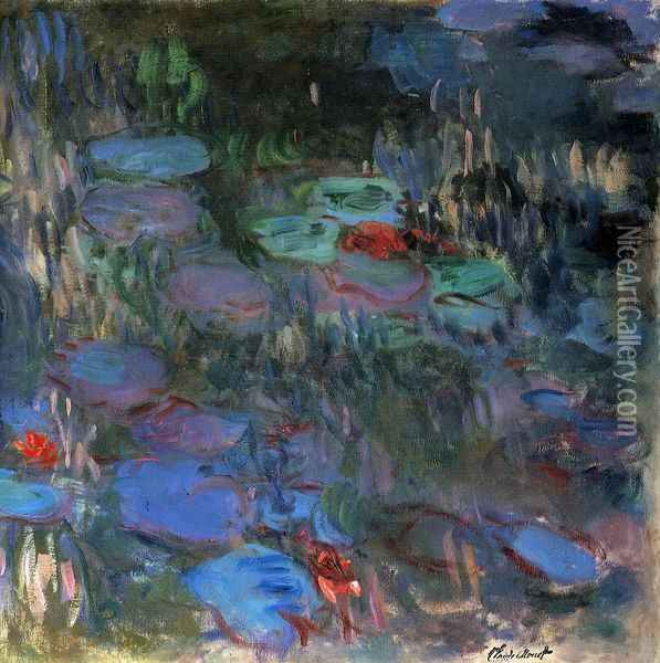 Water-Lilies, Reflections of Weeping Willows (right half) Oil Painting - Claude Oscar Monet