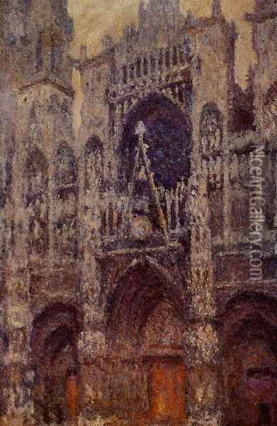 Rouen Cathedral, the Portal, Grey Weather Oil Painting - Claude Oscar Monet
