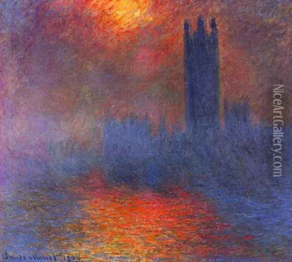 Houses of Parliament, Effect of Sunlight in the Fog I Oil Painting - Claude Oscar Monet