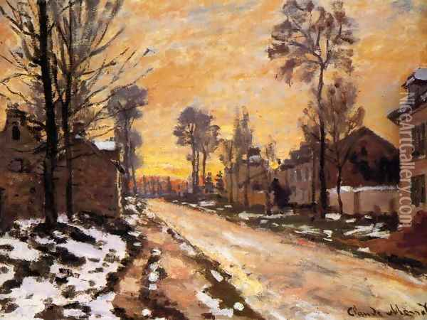 Road at Louveciennes, Melting Snow, Sunset Oil Painting - Claude Oscar Monet