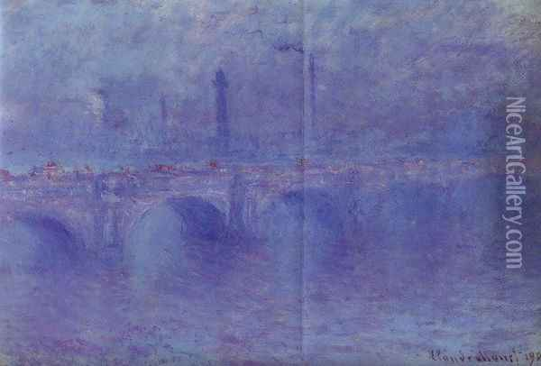 Waterloo Bridge, Fog Effect Oil Painting - Claude Oscar Monet