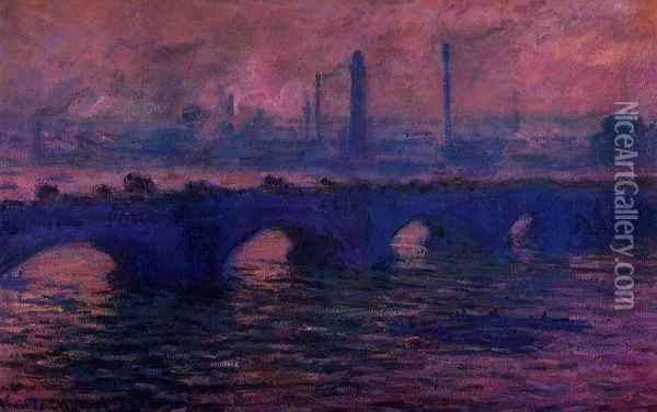 Waterloo Bridge, Overcast Weather I Oil Painting - Claude Oscar Monet