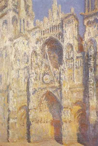Rouen Cathedral: The Portal and the Saint-Romain Tower in Full Sun, Harmony in Blue and Gold Oil Painting - Claude Oscar Monet