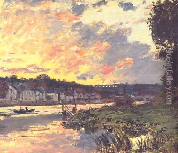 The Seine at Bougival in the Evening Oil Painting - Claude Oscar Monet