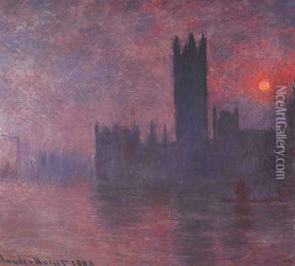 London: Houses of Parliament at Sunset Oil Painting - Claude Oscar Monet