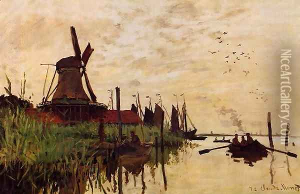 Windmill at Zaandam 1 Oil Painting - Claude Oscar Monet