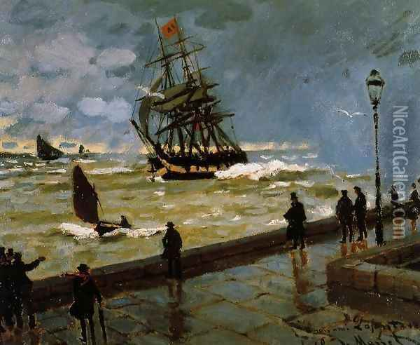 The Jetty at Le Havre in Rough Westher Oil Painting - Claude Oscar Monet