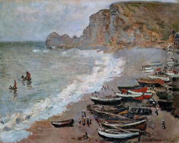 The Beach and Cliffs of Amont at Etretat 1883 Oil Painting - Claude Oscar Monet