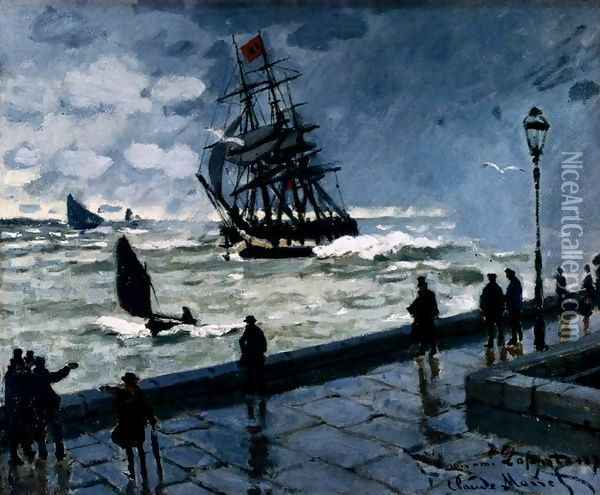The Jetty At Le Havre, Bad Weather Oil Painting - Claude Oscar Monet