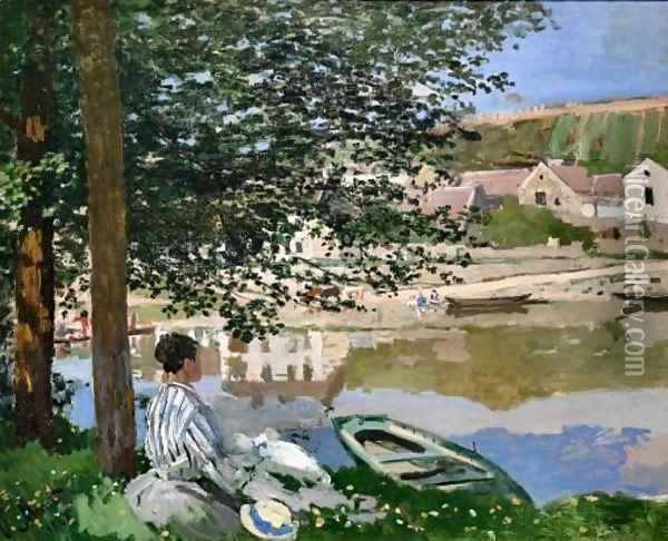 On the Bank of Seine Bennecourt Oil Painting - Claude Oscar Monet