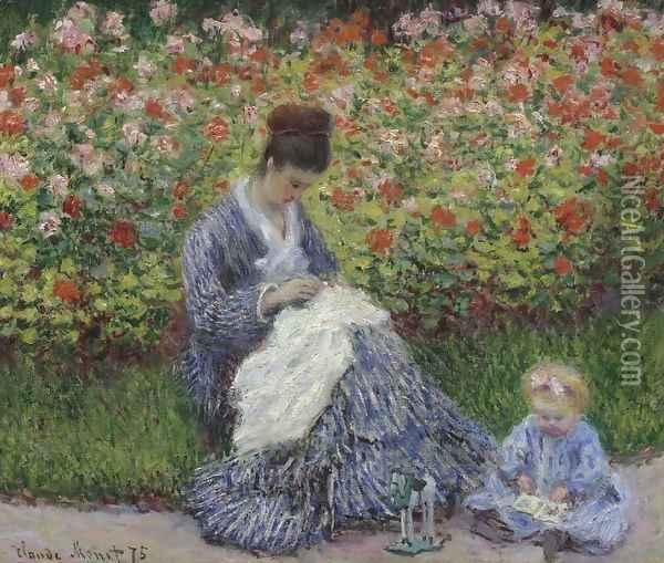 Camille Monet and a child in the artists garden in Argenteuil 1875 Oil Painting - Claude Oscar Monet