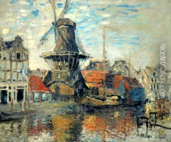 Le Moulin de lOnbekende Gracht, Amsterdam (The Windmill on the Onbekende Canal, Amsterdam) 1871 Oil Painting - Claude Oscar Monet