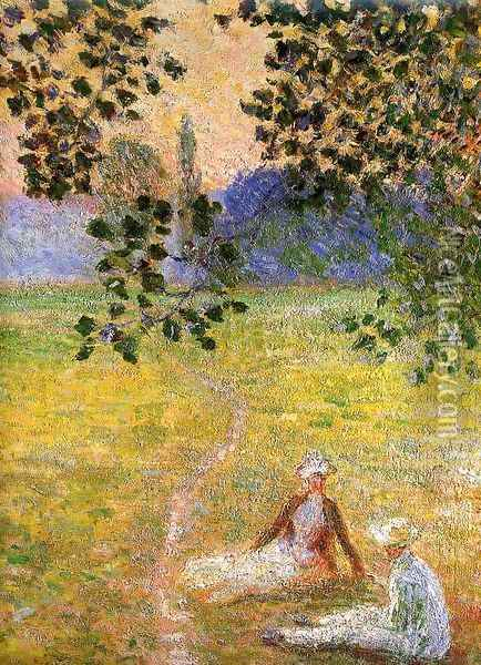 Evening in the Meadow at Giverny (detail) 1888 Oil Painting - Claude Oscar Monet