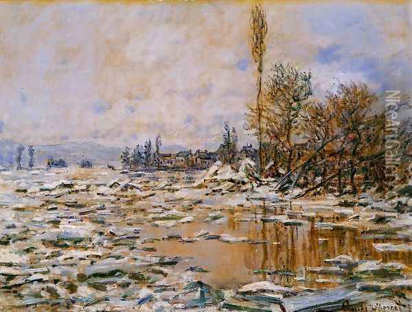 Breakup of Ice Grey Weather 1880 Oil Painting - Claude Oscar Monet