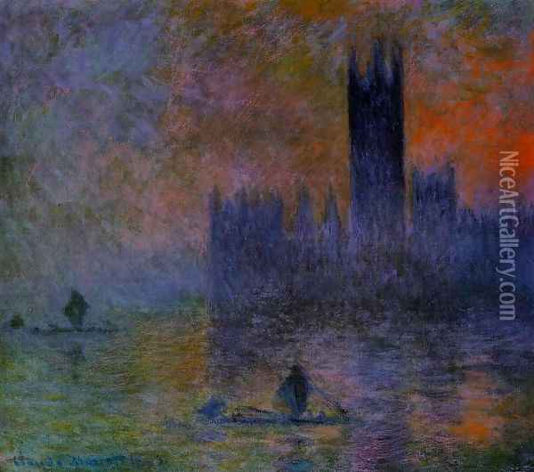 Houses of Parliament Fog Effedt 1899-1901 Oil Painting - Claude Oscar Monet