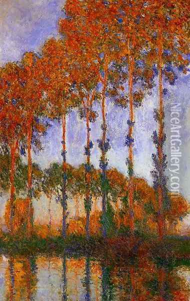 Poplars on the Banks of the River Epte Sunset 1891 Oil Painting - Claude Oscar Monet