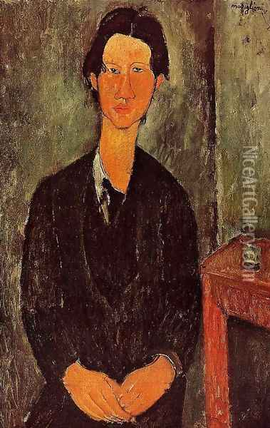 Portrait Of Chaim Soutine Seated At A Table Oil Painting - Amedeo Modigliani