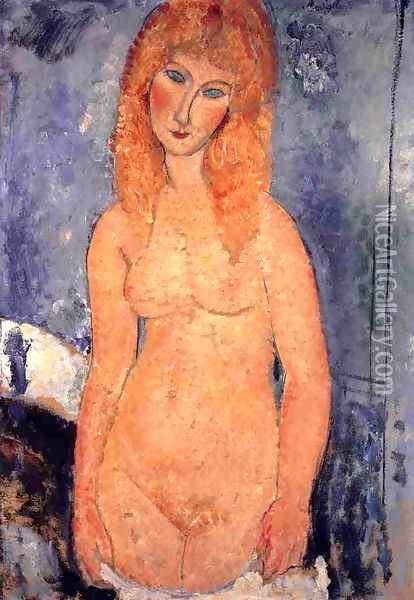 Blonde Nude Oil Painting - Amedeo Modigliani