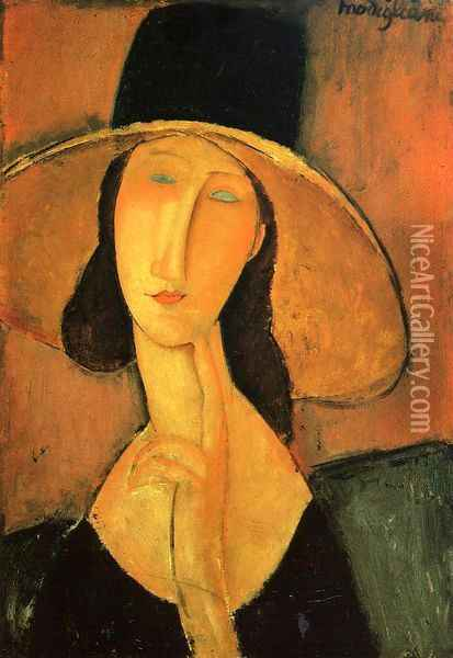 Portrait of a Woman with Hat Oil Painting - Amedeo Modigliani