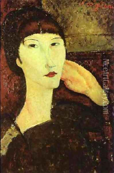 Adrienne Woman With Bangs Oil Painting - Amedeo Modigliani