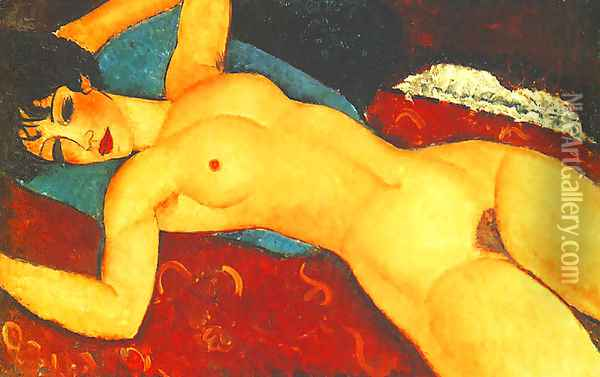 Sleeping Nude With Arms Open Red Nude Oil Painting - Amedeo Modigliani