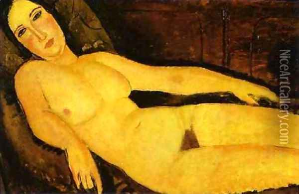 Nude On A Divan Oil Painting - Amedeo Modigliani