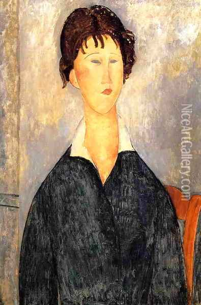 Portrait of a Woman with a White Collar Oil Painting - Amedeo Modigliani