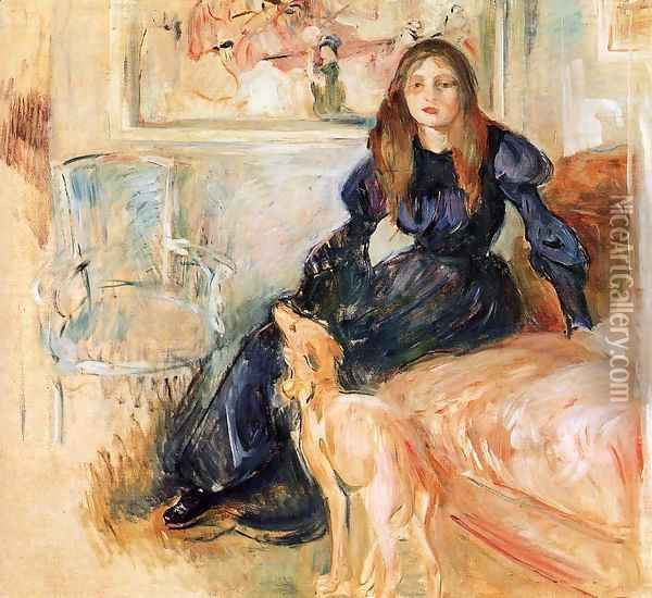 Julie Manet and her Greyhound Laertes 1893 Oil Painting - Berthe Morisot