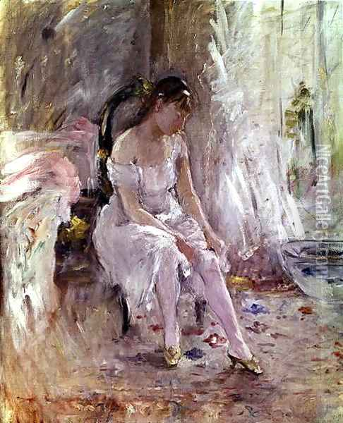 Young Girl Putting on Her Stockings Oil Painting - Berthe Morisot