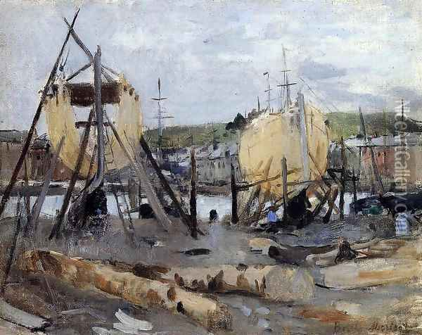 Boats Under Construction Oil Painting - Berthe Morisot