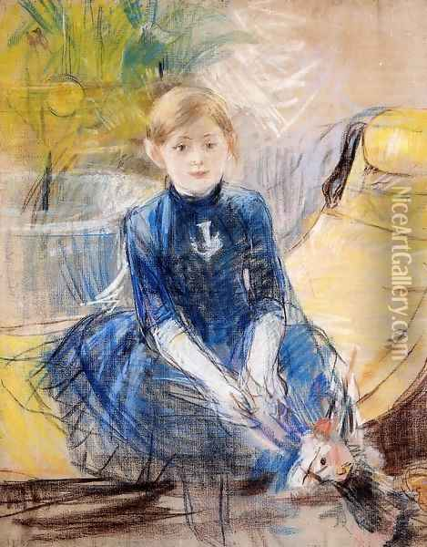 Little Girl In A Blue Dress Oil Painting - Berthe Morisot