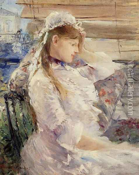 Behind The Blinds Oil Painting - Berthe Morisot