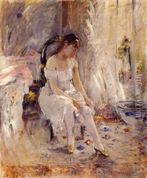 Woman Getting Dressed Aka Young Woman Fastening Her Stockings Oil Painting - Berthe Morisot