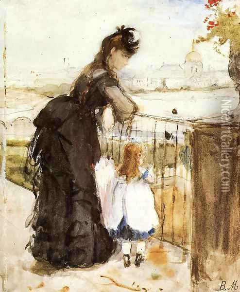 On the Balcony 1872 Oil Painting - Berthe Morisot