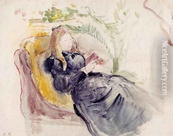 Julie Manet Reading In A Chaise Lounge Oil Painting - Berthe Morisot