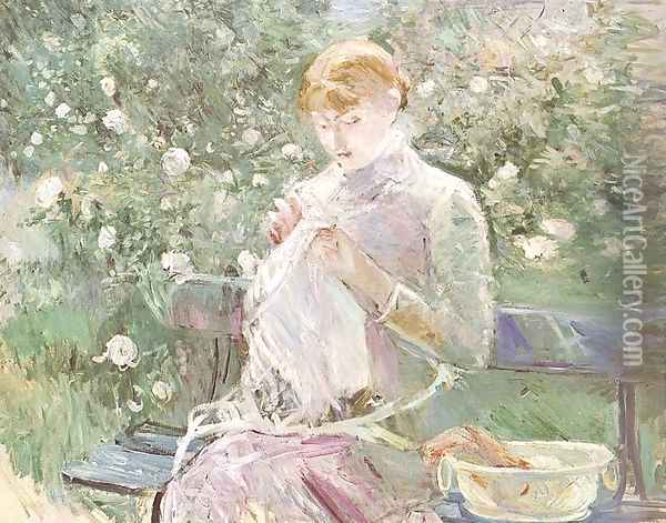 Young Woman Sewing in a Garden 1881 Oil Painting - Berthe Morisot