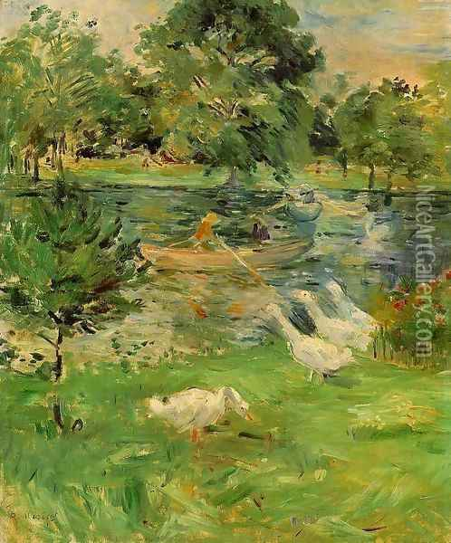 Girl in a Boat, with Geese 1889 Oil Painting - Berthe Morisot