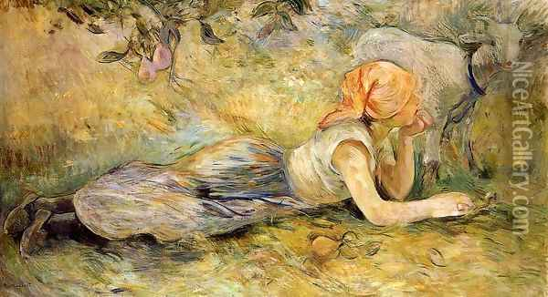 Shepherdess Laying Down Oil Painting - Berthe Morisot