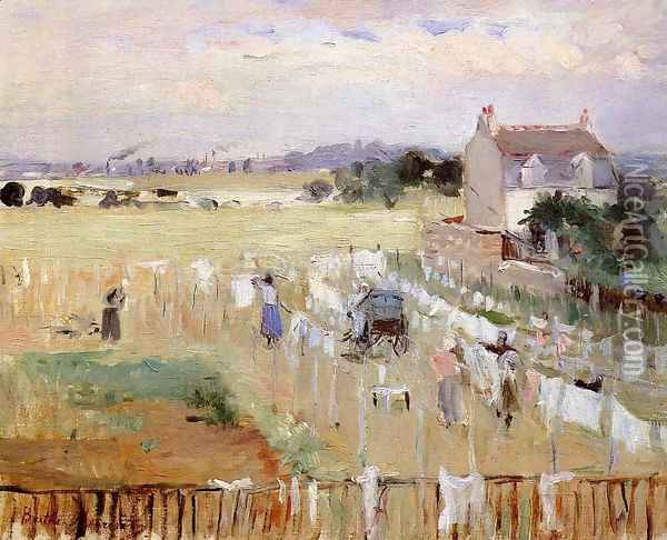 Hanging The Laundry Out To Dry Oil Painting - Berthe Morisot