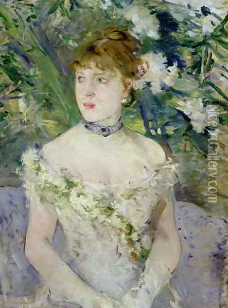 Young girl in a ball gown, 1879 Oil Painting - Berthe Morisot